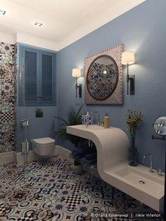 Современный интерьер ванной, ванна в голубых тонах, плитка пэчворк