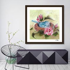 Bird In The Nest. Pink Rose. Beautiful Flowers. Floral Spring.