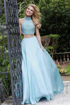2 piece blue prom dress