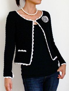 $5, fingering - Jasmine is a classic Chanel inspired jacket, with a slightly boxy form, fitted sleeves, and contrasting scallop trim around the edges. The placket opening of the sleeves is also trimmed