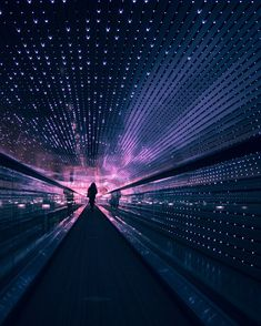 The moving walkway at the National Gallery of Art Moving Walkway, The Adventure Zone, National Gallery Of Art, Cyberpunk Art, Purple Aesthetic, Nostalgia, Dark Matter, Neon Lighting, City Lights