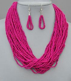 I'm all over this necklace. Seed Bead Necklace, Seed Beads, Tassel Necklace, Dangle Earrings, Hot Pink, Dangles, Seeds, Beading, Big