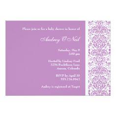 Lilac Damask Baby Shower Invitation