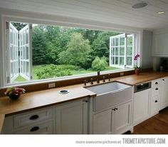 Love the window over the sink. Needs a bar shelf on outside .