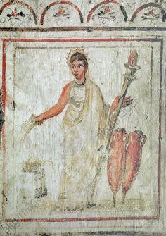 DEMETER / EARLY CHRISTIAN MURAL. Rome / Roma (Italy), Catacombs / Catacombe di via Latina, Cubiculum C, entrance.  The goddess Demeter.  Early Christian mural, mid–4th Century. 84 × 74 cm.