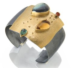 Verano cuff: colors of sky, water and sunshine in labradorite, tourmaline and citrine. 22k gold and oxidized silver. To see more cuffs: http://sydneylynch.com/onekind/bracelets.html