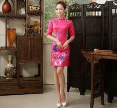 Pink Silk Floral Embroidery Mini Cheongsam Qipao Dress - iDreamMart.com