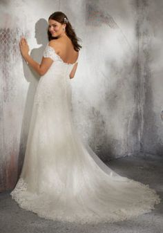 Estilo VOIX Laverna Wedding Dress Timeless Chantilly Lace Bridal Gown Accented with Frosted Alençon Lace Appliqués on Net. Off the Shoulder Detachable Cap Sleeves Add a Romantic Touch. Available in Three Lengths: Colors: White, Ivory, Ivory/Crème Plus Size Bridal Dresses, Plus Size Wedding Gowns, Wedding Dresses Photos, Bridal Wedding Dresses, Bridal Lace, Wedding Dress Styles, Dream Wedding Dresses, Bridesmaid Dresses, Prom Dresses