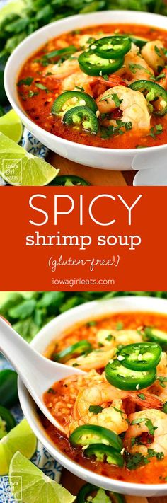 Spicy Shrimp Soup is a copycat recipe from our favorite Ecuadorian restaurant. Spicy, garlicky, and comforting, you will eat bowl after bowl of this easy soup recipe!| iowagirleats.com