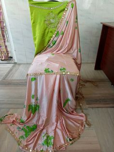 Satin shibouri sarees with blouse embroidery and mirror work lace
