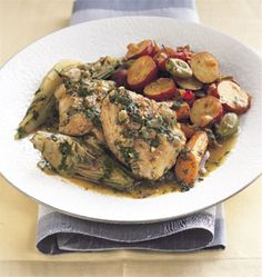 Chicken Tagine with Spring Vegetables This flavorful tagine comes from Sephardic cuisine—the cooking of Mediterranean and Middle Eastern Jews—and is fragrant with the bold seasonings of the region. Passover Recipes, Jewish Recipes, Tagine Cooking, Tagine Recipes, Spinach Soup, Vegetarian Appetizers, Winner Winner Chicken Dinner, Chicken Thigh Recipes, Middle Eastern Recipes