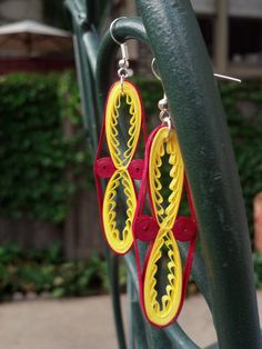 Eco-Friendly Paper Quilled Earrings Long Tribal - Maroon and Gold - quilling paper jewelry, paper earrings statement jewelry, large earrings
