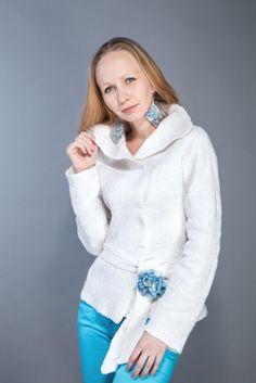 Nunofelted jacket (flax + merino)