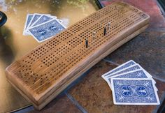 Cribbage board make from old wine barrel staves! -- Now we're talking!!!