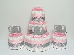 Set Of FOUR Pink & Gray Elephant Mini by LanasDiaperCakeShop