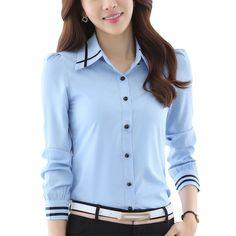 cdd85ce967b LNRRABC Hot Sale White Blue Blouses Plus Size Long Sleeve Turn-down Collar  Formal Elegant