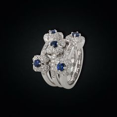 An Elegant White Gold Sapphire & Diamond bouquet Ring Sapphire Diamond, Bouquet, White Gold, Passion, Engagement Rings, Elegant, Flowers, Jewelry, Design