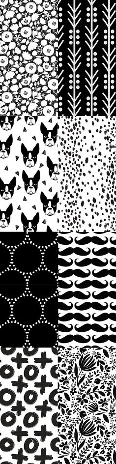 Black and white designs by indie designers.  Solid black and white shapes, abstract shapes, terriers, flowers, and moustaches!  Designs pictured: clear cut flowers by ottomanbrim,arrow_dot_black by holli_zollinger, boston terrier by andrea_lauren,dotty dot by keweenawchris,black on white mustache by cutencomfy, charcoal dots by domesticate, black white XO by northeightytextiles