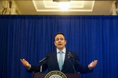 Matt Bevin standing on a stage in front of a curtain: Kentucky Gov. Matt Bevin, a Republican, on Friday, announcing new work requirements for many of the state's Medicaid recipients.
