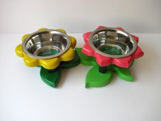 BROMELIADS  raised cat bowl stand  elevated dog by Cc2kdesign