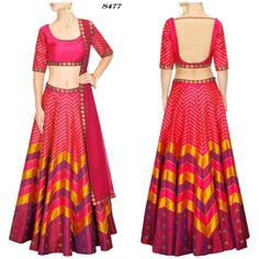 Price @4700.00 INR  Colour : Multi Colour  Fabric : Raw Silk  Work : Round Neck, Half Sleeve, Printed And Embroidered  Pink, Magenta And Gold Sequins Embroidered Lehenga Set
