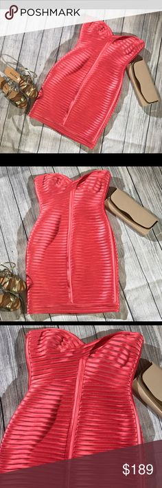 BCBG Coral Dress Stunning BCBG dress.  Worn once to a wedding.  This dress is great for a summer wedding. The fabric is amazing quality and the color is vibrant and gorgeous!! Size: 6 BCBGMaxAzria Dresses