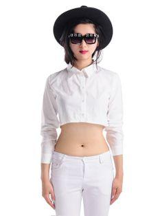 White Long Sleeves Crop Shirt | Choies