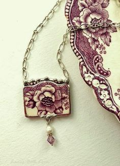 Broken china jewelry necklace antique floral purple plum toile English transferware with pearl and crystal: Diy Jewelry Necklace, Glass Jewelry, Jewelry Crafts, Jewelry Art, Antique Jewelry, Vintage Jewelry, Handmade Jewelry, Jewelry Rings, Fashion Jewelry