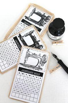 Here's a cute idea, make a calendar tag for a birthday, and circle the date! - - - Mini 2013 Calendar Tags (so pretty!)