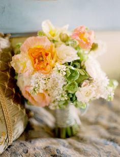 Wedding Ideas: peach-bridesmaid-bouquet-white