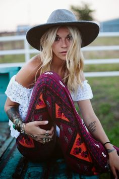 the printed bells, the off the shoulder blouse, the hat <3 love it all