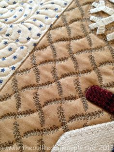 The quilting follows the lines of the print