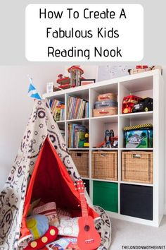 Help your kids develop a love of books and reading by giving them their very own private reading nook. #kids #books #home Cosy Reading Corner, Reading Nook Kids, Lego Storage Boxes, Cube Storage, Toy Storage, Ikea Expedit, Ikea Shelves, Victorian Terrace House, London Apartment