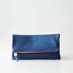 Blue Italian Leather basketweave fold over clutch.  Love you Steven Alan!