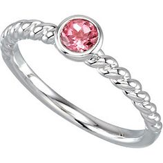 Stackable Pink Tourmaline Gemstone Ring $99