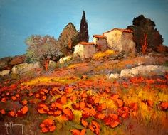 46X38CM LA BERGERIE 8F Virtual Museum, Palette Knife, Landscapes, France, Painting, Inspiration, Picture Wall, Impressionism, Watercolor Painting