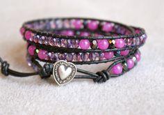 Bohemian+beaded+leather+wrap+bracelet+triple+wrap+by+OlenaDesigns,+$42.00
