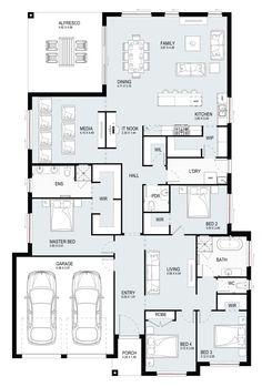Jade 31 - Single Level - Floorplan by Kurmond Homes - New Home Builders Sydney NSW House Layout Plans, Bedroom House Plans, Dream House Plans, Small House Plans, House Layouts, House Floor Plans, House Plans Australia, House Construction Plan, Model House Plan