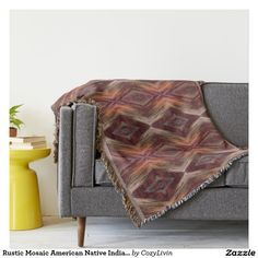 Rustic Mosaic American Native Indian Cabin Pattern Throw Blanket. Beautiful contemporary pastel pink, pale orange, marsala wine red, olive green, medium brown and gray colored Native American tribal style mosaic pattern.
