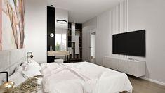Sypialnia z tapetą z motywem kwiatowym, sypialnia z garderobą, Projekt Agnieszki Grabowskiej dla Grupy Moderator Bed, Furniture, Home Decor, Decoration Home, Stream Bed, Room Decor, Home Furnishings, Beds, Home Interior Design