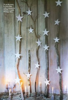mundo flo: We love home: Christmas decoration (everything else) Sticks with stars ! Christmas Store, Noel Christmas, Rustic Christmas, All Things Christmas, White Christmas, Vintage Christmas, Christmas Crafts, Christmas Decorations, Holiday Decor