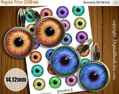 SALE 50% Digital Collage Sheet EYES 14mm 12mm Printable Circles Download for pendants  earrings cufflinks rings - 005