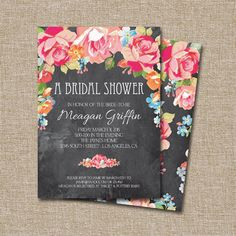 This listing is for the digital files only. Matching back can be added for an additional 3 dollar Invitation Card Design, Invitation Cards, Invitation Templates, Wedding Fun, Wedding Things, Wedding Ideas, Flower Logo, Wedding Honeymoons, Painted Flowers
