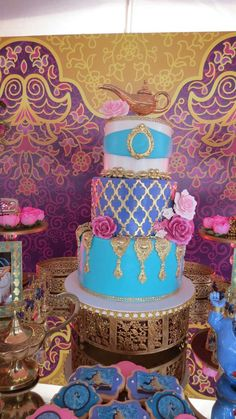 The whole New World Birthday Party Ideas Aladdin Birthday Party, Aladdin Party, Cinderella Birthday, Arabian Party, Arabian Nights Party, Arabian Theme, Girl Birthday Themes, 6th Birthday Parties, Princess Jasmine Cake