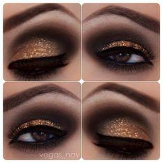 Metallic Copper & Brown Smokey Eye Makeup. Would be fun for NYE or a girls night out :)