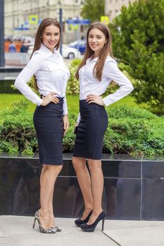 Two happy business women - business professional outfits offices Mode Outfits, Office Outfits, Sexy Outfits, Fashionable Outfits, Dressy Outfits, Stylish Outfits, Business Professional Outfits, Business Outfits, Business Skirts