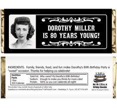 A Vintage Birthday Milestone Photo Theme Candy Bar Wrapper / Picture the birthday boy or girl on this great wrapper.