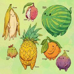 Animal Drawings, Cute Drawings, Food Illustrations, Creature Design, Cute Illustration, Aesthetic Art, Art Sketches, Cute Art, Art Inspo
