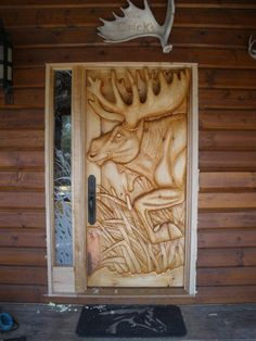 Entry Door Moose Door hand-carved white pine by GlenMcCune on Etsy