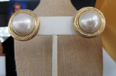 $12.00 TRIFARI Large Faux PEARL Gold Tone Swirl Clip On EARRINGS by feathersoup on Etsy